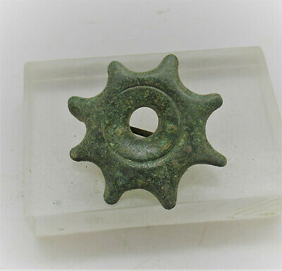 Ancient Roman Bronze Plate Type Brooch In The Form Of A Sun 200-300Ad