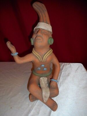 "Vintage Pre-Columbian Mayan Terra Cotta 11 1/2"" Sculpture - Great Find!"