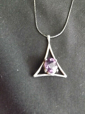 Vintage Funky Sterling Amethyst Triangle Pendant