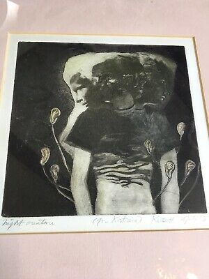 Antique Vintage Rare Photo Etching Art Print Keith A. Smith 'Night Creature' '73