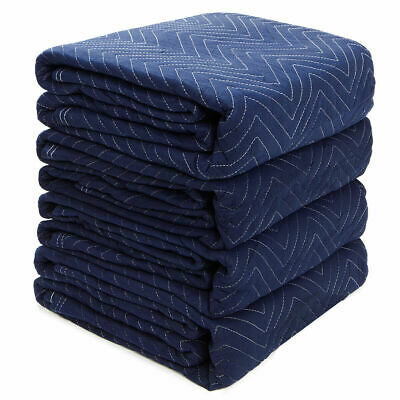 Set of 4 Moving Blankets (65lb) Heavy Duty Furniture Shipping Moving Pads Mats