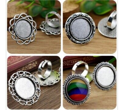5pcs 20mm Antique Silver Round Ring Base Setting Cabochon Ring Blank Trays DIY