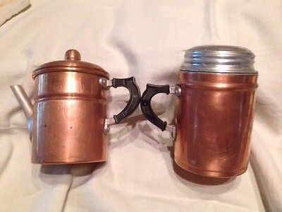 Antique/Vintage Copper Syrup Pitcher & Powdered Sugar Duster Italy