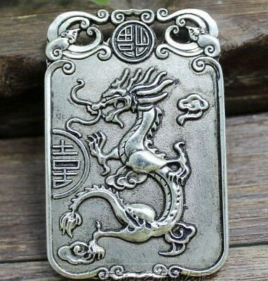 Chinese antique white brass hand carved double dragon brand pendant