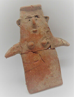 Very Rare Ancient Bronze Age Cypriot Redware Plank Type Idol Circa 2300-1600Bce