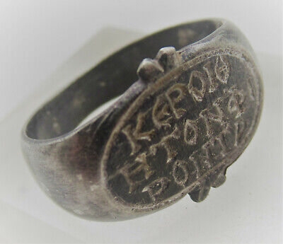 Ancient Byzantine Silver Seal Ring With Latin Inscriptions Very Rare