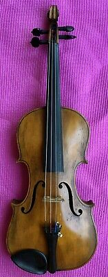 Antique Old American Folk Art Violin Frontier Days Awesome