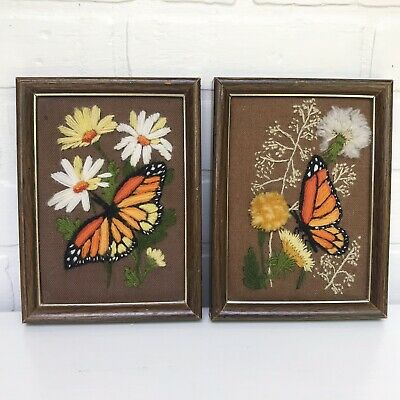 Pair Finished Crewel Embroidery Vintage Butterflies Framed Completed Retro Boho