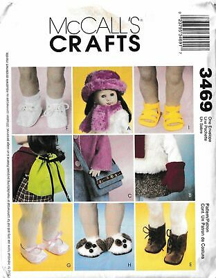 """18"""" Doll Accessories Hat Bag Backpack Boots Shorts Sandals Etc Sewing Pattern"""