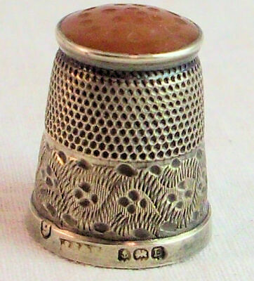 English Sterling Silver Sewing Thimble w Amber Dome Top - Hallmarked - c. 1929