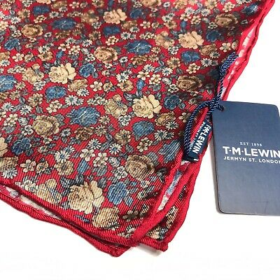 Mens Red Pocket Square T.M.LEWIN Italian Silk Blue Gold Floral Hand Rolled