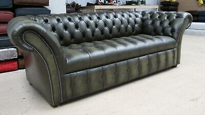 Modern Vintage Olive Green Leather Chesterfield Buttoned Seat 3 Seater Sofa