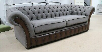 Modern Handmade Grey Fabric Brown Leather Chesterfield Buttoned 3 Seater Sofa