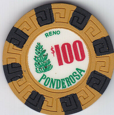 PONDEROSA Reno $100.00 casino chip R-8 Extremely Rare, New - uncirculated