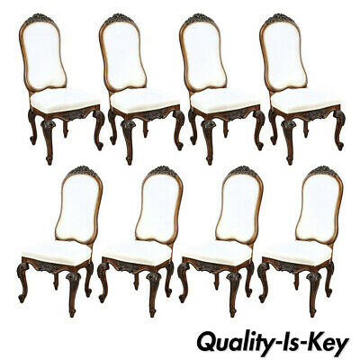 Set of 8 Italian Baroque Style Carved Walnut Upholstered Tall Back Dining Chairs