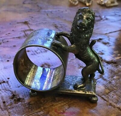 Rare Antique Meriden Silverplate Figural Napkin Ring Lion