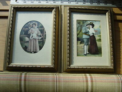 2 Tuck Vintage Clothes Postcards Love Romance Couple Soldier Soft Look Framed