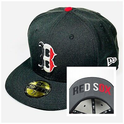 Boston Red Sox New Era 59FIFTY MLB Cap Hat Fitted 7 5/8 60.6 cm Black Red White