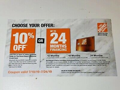 Home Depot 10% off coupon valid 7/18/19 thru 7/24/19 Online or in store
