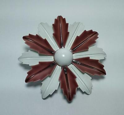 Vintage Brown & White Metal Enamel - Flower Pin Brooch - UNUSED