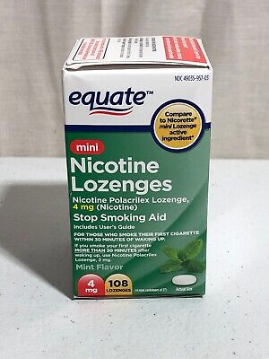 Equate Stop Smoking Aid Nicotine Lozenges 108 Count Mint Flavor 4 mg Exp.10/20
