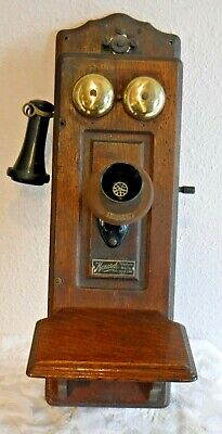 Antique Monarch Cathedral Top Picture Frame Wooden Wall Telephone 1899
