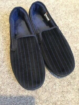 M&S Mens Thinsulate Slippers Size 7 Blue Stripe