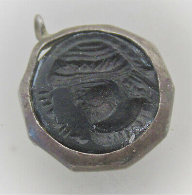 Ancient Near Eastern Silver Pendant With Agate Stone Intaglio Insert