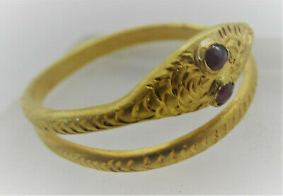 Scarce Ancient Roman High Carat Gold Snake Ring With Red Stone Inserts 200-300Ad