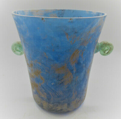 Huge Ancient Roman Aqua Blue Twin Handled Vessel 200-300Ad Approx 35Cm High