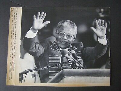 AP Wire Press Photo 1990 Nelson Mandela in Harlem NY for Rally