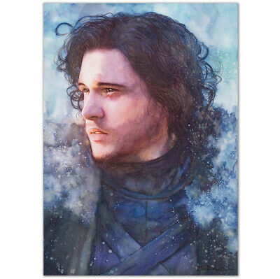 "ORIGINAL AQUARELL ""Never ever know"" WATERCOLOR ART KIT HARINGTON JON SNOW GOT A4"