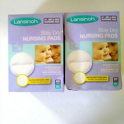 Lansinoh Nursing Pads 2 Packs of 60 (120 count) Stay Dry Disposable Breast Pads
