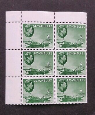 Seychelles KGVI 6d Green Block of 6 Mint Stamps