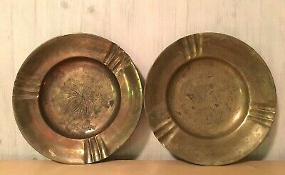 Pair of Vintage Hand Hammered Brass Plates Engraved Motif Patterns