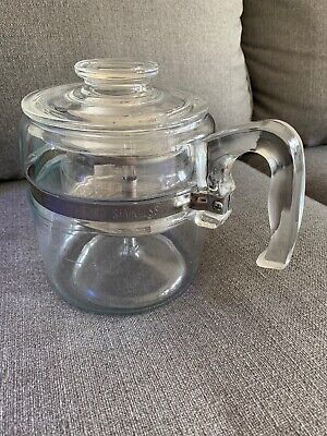 Vtg. Pyrex 7756 Flame Ware 6 Cup Glass Coffee Pot Stove Top Percolator Complete