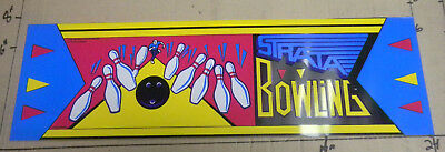 """23 3/4-7"""" STRATA BOWLING  arcade game  sign marquee CHECK PICTURE cf43"""