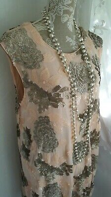 Vtg 1920,s style Downton Gatsby pink floral sequin wedding dress size 12/14 uk