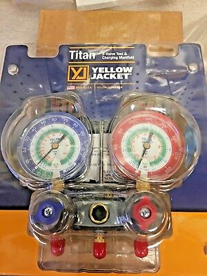 Yellow Jacket, 2 Valve Manifold, TITAN, R12,R22 & R134a, Red, Blue Gauge, 49843
