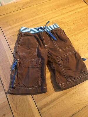 MINI BODEN BOYS LONG CARGO SHORTS, AGE 4 YEARS Brown , PULL-ON ELASTICATED WAIST