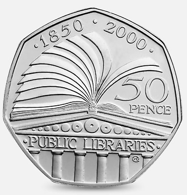 50p Coin 2000 Fifty Pence 150th Anniversary of Public Libraries BOOK rare hunt