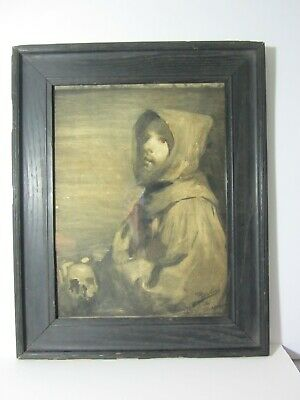 Arts & Crafts Mission Fumed OAK Picture Frame ZURBARAN SAINT FRANCIS MONK SKULL