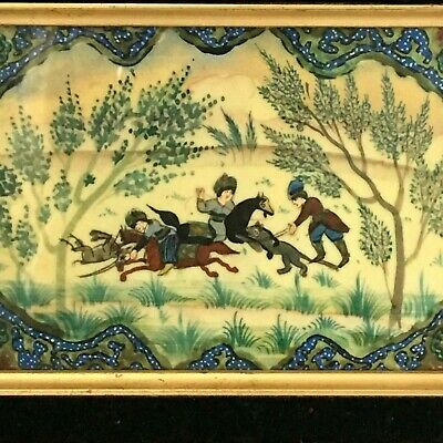 Hand Painted Scene on Celluloid French Ivory Nice Frame