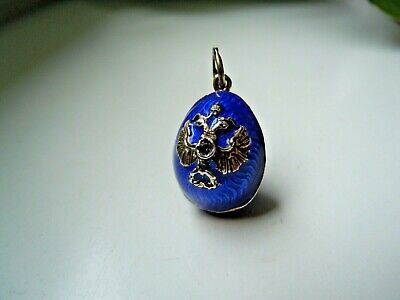 very RARE imperial Russian 84 Silver Enamel Pendat Faberge design c. 1915-17th