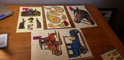 4 Vintage Meyercord Decals  ford  Cadillac horse & more Decals vintage lot