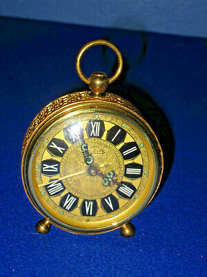 Vintage Forestville Brass Wind Up Alarm Clock West Germany Working!