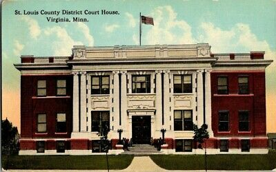 EARLY 1900'S. ST LOUIS COUNTY DIST COURT HOUSE. VIRGINIA, MN POSTCARD r4