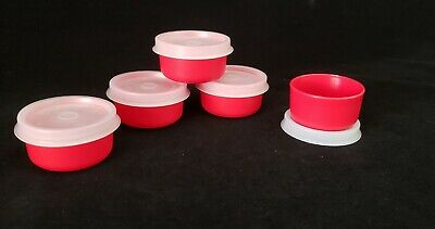 Free Ship Tupperware Set of 5 SMIDGETS Mini Bowl 1oz Dips Candy Pills NEW Red