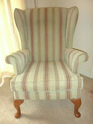 Parker Knoll Wing Back Armchair Penshurst In Olive With Claret Stripe - Nice!