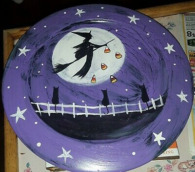 """Primitive Folk Art Painting """"PRIM WOODEN PLATE""""~***HALLOWEEN cANDY cORN WITCH"""